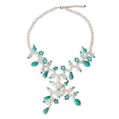 Cultured pearl Y-necklace, 'Phuket Romance' - Handcrafted Pearl Necklace from Thailand