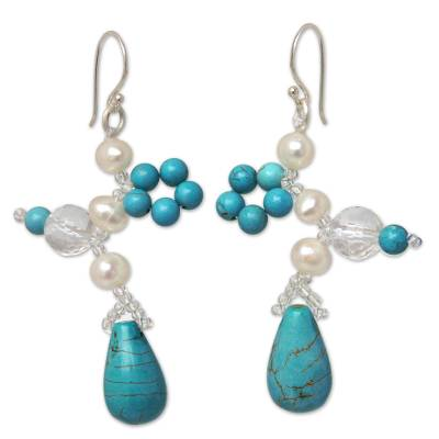 Cultured pearl beaded earrings