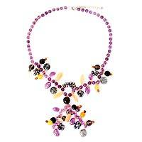 Cultured pearl and amethyst Y-necklace, 'Koh Mun Nork Romance' - Cultured pearl and amethyst Y-necklace