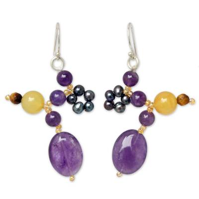 Cultured pearl and amethyst dangle earrings