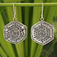 Silver dangle earrings, 'Karen Legends' - Hill Tribe Silver Dangle Earrings