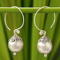 Silver dangle earrings, 'Thai Moonlight'