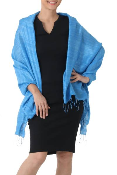 Silk shawl, 'Blue Treasure' - Handcrafted Silk Shawl