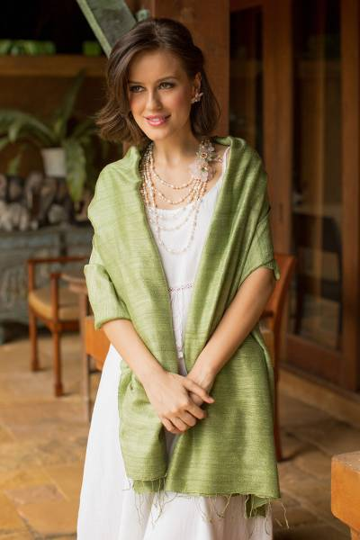 Silk shawl, 'Green Treasure' - Hand Made Silk Shawl