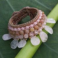 Rose quartz and aventurine wristband bracelet, 'Dawn Rose' - Handcrafted Beaded Aventurine and Rose Quartz Bracelet