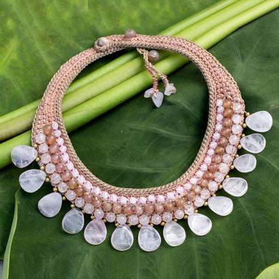 Rose quartz and aventurine choker, 'Dawn Rose' - Beaded Rose Quartz Necklace