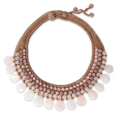 Rose quartz and aventurine choker, 'Dawn Rose' - Beaded Rose Quartz Necklace