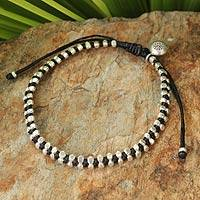 Silver beaded bracelet, 'Hill Tribe Elite' - Karen Hill Tribe Silver Beaded Bracelet