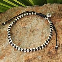 Silver beaded bracelet, 'Hill Tribe Elite'