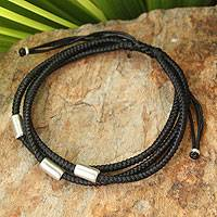 Silver accent wristband bracelet, 'Hill Tribe Friend in Black'
