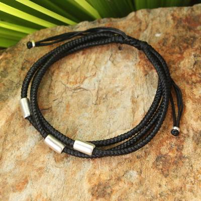 Silver accent wristband bracelet, 'Hill Tribe Friend in Black' - Silver Braided Bracelet
