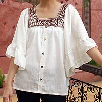 Cotton blouse, 'Ruffled White Charm' - Women's Cotton Blouse