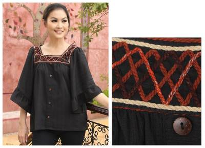 Cotton blouse, Ruffled Black Charm