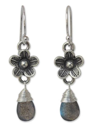 Labradorite flower earrings, 'Rainforest Dew' - Floral Silver Labradorite Dangle Earrings