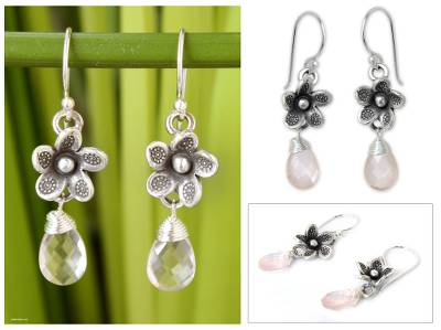 Rose quartz flower earrings, 'Rainforest Dew' - Rose quartz flower earrings