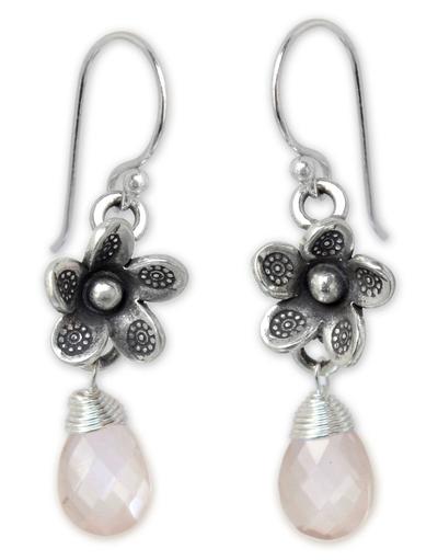 Rose quartz flower earrings, 'Rainforest Dew' - Rose quartz flower earrings