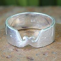 Sterling silver band ring, 'Elephant Kiss' - Unique Sterling Silver Band Ring