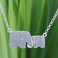 Sterling silver pendant necklace, 'Family Love' - Unique Artisan Loving Elephant Jewelry