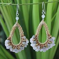 Rose quartz and labradorite dangle earrings, 'Flirty Rose' - Labradorite Crocheted Dangle Earrings