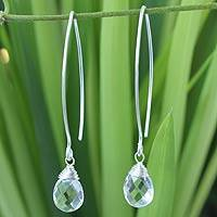 Quartz dangle earrings, 'Majestic Ice' - Sterling Silver and Quartz Dangle Earrings