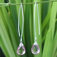 Pink quartz dangle earrings, 'Majestic Ice' - Modern Sterling Silver and Quartz Earrings