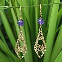 Gold vermeil amethyst filigree earrings, 'Chiang Mai Chic'