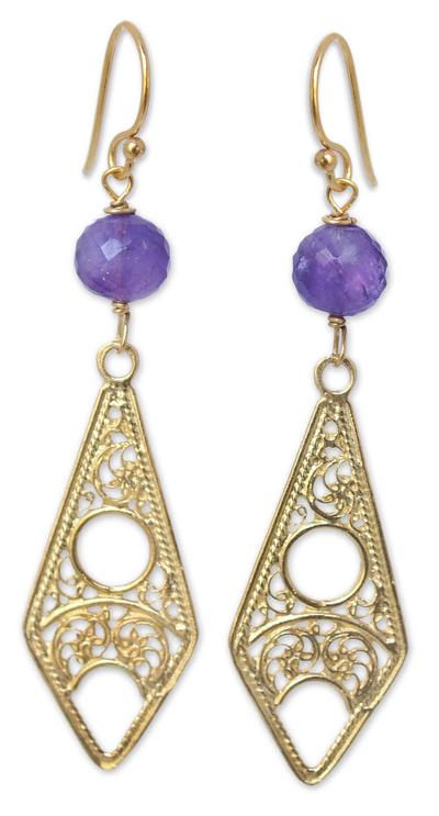 Gold vermeil amethyst filigree earrings, 'Chiang Mai Chic' - Gold vermeil amethyst filigree earrings