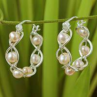 Cultured pearl hoop earrings, 'Peach Twist' - Handcrafted Thai Pearl Hoop Earrings