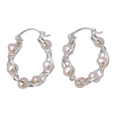 Cultured pearl hoop earrings, 'Peach Twist' - Sterling Silver and Pearl Hoop Earrings