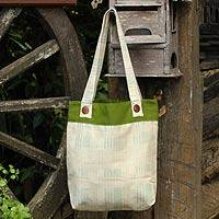 Cotton shoulder bag, 'Modern Organics' - Cotton shoulder bag