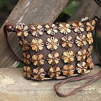 Coconut shell shoulder bag, 'Petite Garden'