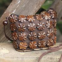 Coconut shell shoulder bag, 'Petite Brown Daisies' - Unique Floral Coconut Shell Shoulder Bag