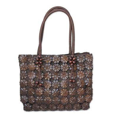 Coconut shell Tote handbag, 'Thai Garden' - Hand Made Floral Coconut Shell Tote Bag