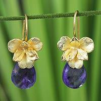 Gold vermeil and amethyst earrings, 'Thai Orchid'