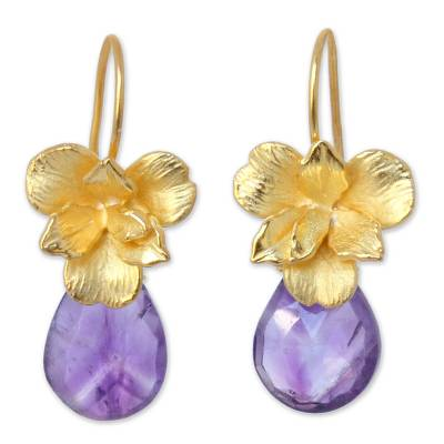 Gold vermeil and amethyst earrings, 'Thai Orchid' - Gold vermeil and amethyst earrings