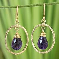 Gold vermeil amethyst dangle earrings, 'Sweet Elegance' - Gold Vermeil and Amethyst Dangle Earrings