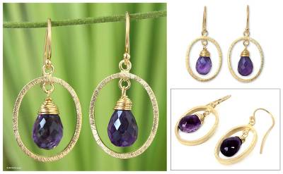 Gold vermeil amethyst dangle earrings, 'Sweet Elegance' - Gold Vermeil and Amethyst Dangle Earrings