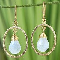 Gold vermeil rainbow moonstone dangle earrings, 'Sweet Elegance'