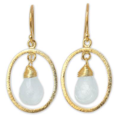 Gold vermeil rainbow moonstone dangle earrings, 'Sweet Elegance' - Gold vermeil rainbow moonstone dangle earrings