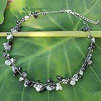 Cultured pearl and tourmalinated quartz beaded necklace, 'River of Night' - Pearl and Quartz Beads on Silver Thai Necklace