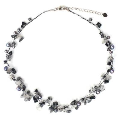 Beaded Quartz and Pearl Necklace from Thailand