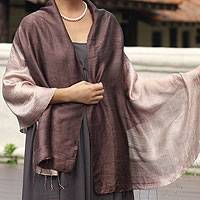 Silk shawl, 'Shimmering Raisin' - Silk Shawl