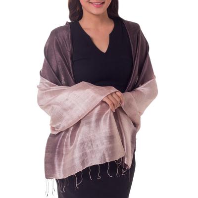 Silk shawl, 'Shimmering Raisin' - Silk Shawl