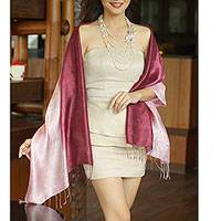 Silk shawl, 'Shimmering Orchid' - Silk Shawl from Thailand