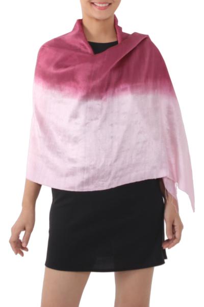 Silk shawl, 'Shimmering Orchid' - Silk Shawl from Thailand