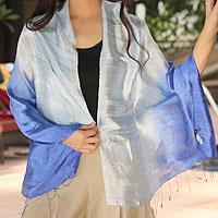 Silk shawl, 'Shimmering Sky'