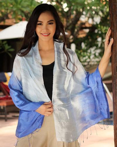 Silk shawl, 'Shimmering Sky' - Blue Silk Shawl