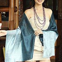 Silk shawl, 'Shimmering Ocean' - Silk Shawl from Thailand