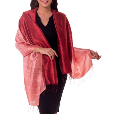 Silk shawl, 'Shimmering Vermilion' - Artisan Crafted Silk Shawl