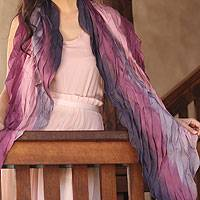 Silk scarf, 'Rose Moment' - Silk Blend Pleated Scarf from Thailand